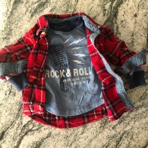 Baby Gap flannel and long sleeve t-shirt, 18-24 mo